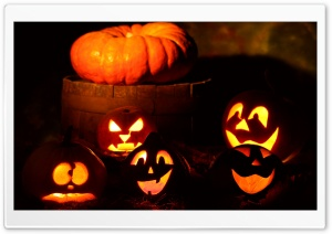 Lighted Halloween Pumpkins HD Wide Wallpaper for Widescreen