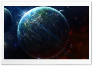 Lighted Planet HD Wide Wallpaper for Widescreen