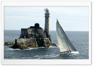 Lighthouse And Sailboat HD Wide Wallpaper for Widescreen