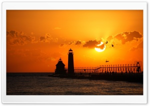 Lighthouse At Sunset HD Wide Wallpaper for Widescreen