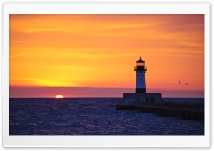 Lighthouse At Sunset HD Wide Wallpaper for 4K UHD Widescreen desktop & smartphone