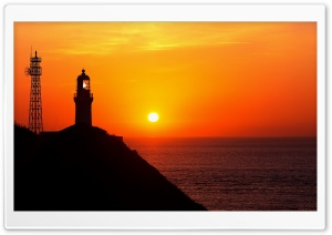 Lighthouse Silhouette At Sunset HD Wide Wallpaper for 4K UHD Widescreen desktop & smartphone