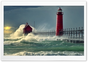 Lighthouse Stormy Sea HD Wide Wallpaper for 4K UHD Widescreen desktop & smartphone