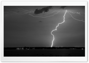 Lightning Monochrome HD Wide Wallpaper for Widescreen