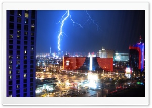 Lightning Over Las Vegas HD Wide Wallpaper for Widescreen