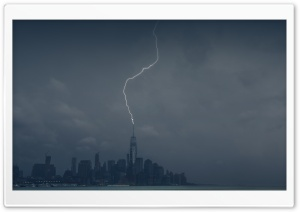 Lightning Strike One World Trade Center HD Wide Wallpaper for 4K UHD Widescreen desktop & smartphone