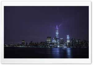 Lightning strikes One World Trade Center HD Wide Wallpaper for 4K UHD Widescreen desktop & smartphone