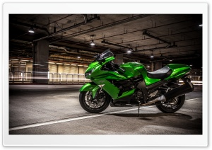 Lime Green Kawasaki Ninja Motorcycle HD Wide Wallpaper for Widescreen
