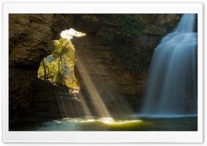 Limestone Cave And Waterfall, The Foradada, Catalonia, Spain HD Wide Wallpaper for Widescreen