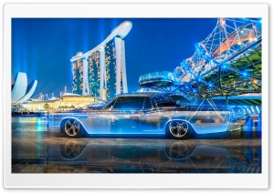 Lincoln Continental Crystal City Night Neon Car 2015 HD Wide Wallpaper for Widescreen