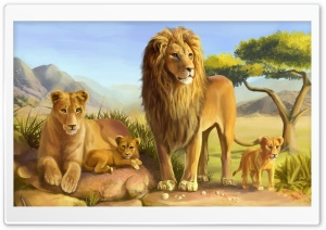 Lion Family HD Wide Wallpaper for Widescreen