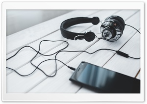 Listening To Music Headphones HD Wide Wallpaper for Widescreen