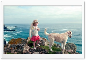 Little Girl And Her Dog HD Wide Wallpaper for 4K UHD Widescreen desktop & smartphone