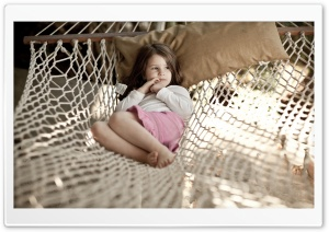 Little Girl In Hammock HD Wide Wallpaper for 4K UHD Widescreen desktop & smartphone
