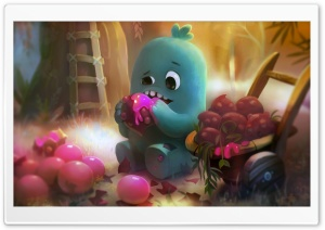 Little Monster Eating Sweet Fruits Illustration HD Wide Wallpaper for 4K UHD Widescreen desktop & smartphone