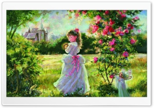 Little Princess Painting HD Wide Wallpaper for Widescreen