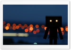 Little Robot Enjoying A Night Out HD Wide Wallpaper for Widescreen