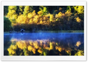 Loch Chon Boathouse Autumn HD Wide Wallpaper For 4K UHD Widescreen Desktop Smartphone