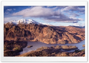 Loch Katrine, Scotland, Panoramic View HD Wide Wallpaper for 4K UHD Widescreen desktop & smartphone
