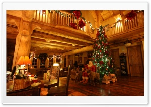 Lodge at Christmas Time HD Wide Wallpaper for Widescreen
