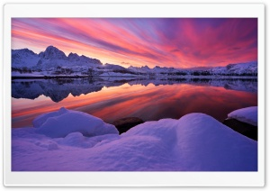Lofoten, Arctic Norway, Sunset, Winter Ultra HD Wallpaper for 4K UHD Widescreen desktop, tablet & smartphone