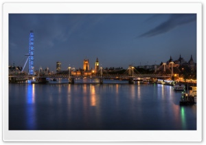 London At Night Panorama HD Wide Wallpaper for Widescreen