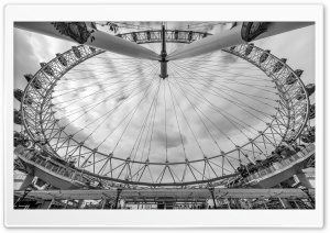 London Eye, a giant Ferris wheel, Monochrome HD Wide Wallpaper for 4K UHD Widescreen desktop & smartphone