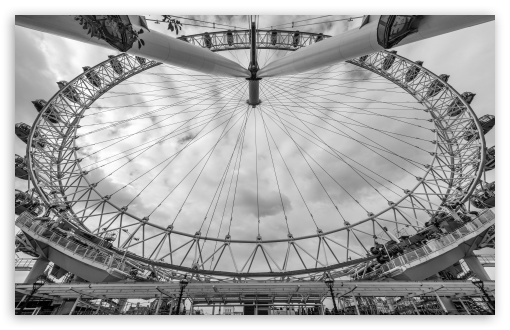 London Eye, a giant Ferris wheel, Monochrome ❤ 4K UHD Wallpaper for Wide 16:10 5:3 Widescreen WHXGA WQXGA WUXGA WXGA WGA ; 4K UHD 16:9 Ultra High Definition 2160p 1440p 1080p 900p 720p ; UHD 16:9 2160p 1440p 1080p 900p 720p ; Mobile 5:3 16:9 - WGA 2160p 1440p 1080p 900p 720p ;