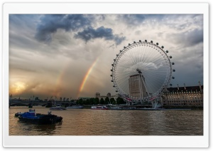 London Eye And Rainbows HD Wide Wallpaper for 4K UHD Widescreen desktop & smartphone