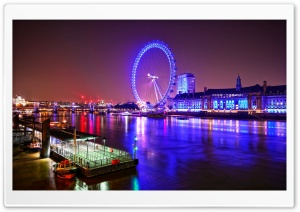 London Eye at Night HD Wide Wallpaper for Widescreen