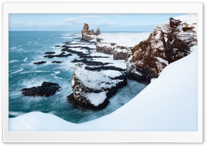 Londrangar Cliffs in Snaefellsness, Iceland, Winter HD Wide Wallpaper for 4K UHD Widescreen desktop & smartphone