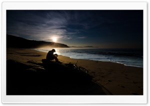 Lone Photographer On The Beach HD Wide Wallpaper for Widescreen