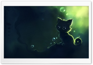 Lonely Black Kitty Painting HD Wide Wallpaper for Widescreen