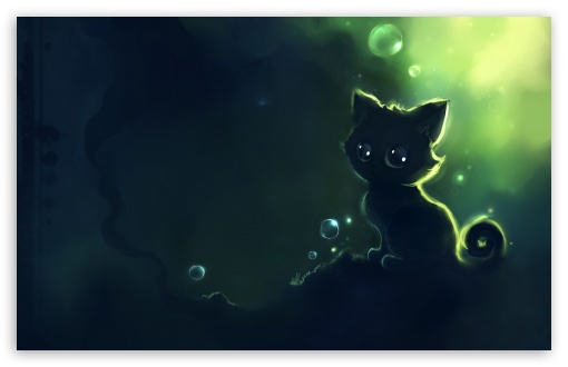 Lonely Black Kitty Painting HD wallpaper for Wide 16:10 5:3 Widescreen WHXGA WQXGA WUXGA WXGA WGA ; HD 16:9 High Definition WQHD QWXGA 1080p 900p 720p QHD nHD ; Mobile WVGA PSP - WVGA WQVGA Smartphone ( HTC Samsung Sony Ericsson LG Vertu MIO ) Sony PSP Zune HD Zen ;