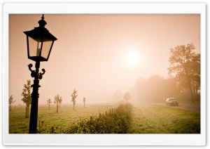 Lonely Lantern In The Fog HD Wide Wallpaper for Widescreen