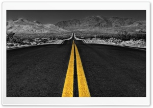 Long Desert Road Black And White HD Wide Wallpaper for Widescreen