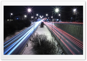 Long Exposure Night Road HD Wide Wallpaper for Widescreen