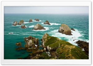 Looking down at Nugget Point and The Nuggets, New Zealand HD Wide Wallpaper for Widescreen