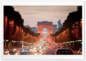 Looking Down The Avenue Des Champs Elysees, From Place De La Concorde, Paris, France HD Wide Wallpaper for Widescreen