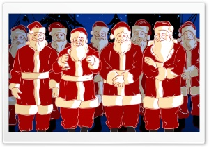 Lots Of Santa Christmas HD Wide Wallpaper for Widescreen