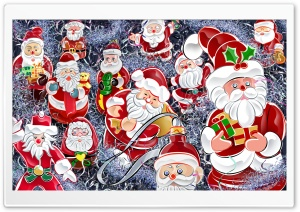 Lots Of Santas Christmas HD Wide Wallpaper for Widescreen
