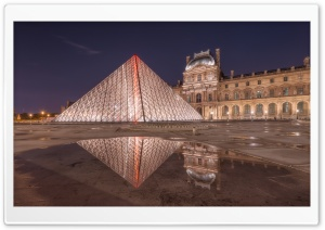 Louvre Pyramid at Night HD Wide Wallpaper for Widescreen