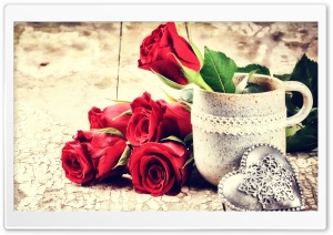 Love, Fresh Cut Red Roses, antique table HD Wide Wallpaper for 4K UHD Widescreen desktop & smartphone