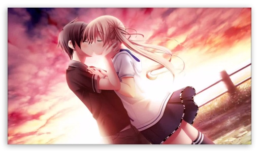 Download Love Kiss Of Cute Anime Couple HD Wallpaper
