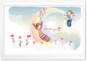 Love Rainbow Valentine's Day HD Wide Wallpaper for Widescreen