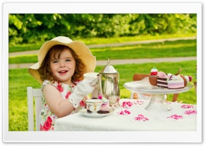 Lovely Child Girl Tea Party HD Wide Wallpaper for 4K UHD Widescreen desktop & smartphone