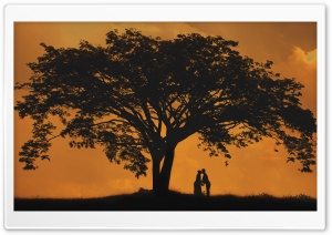 Lovers Silhouette HD Wide Wallpaper for Widescreen
