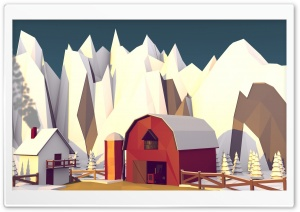 Low Poly Barn HD Wide Wallpaper for Widescreen