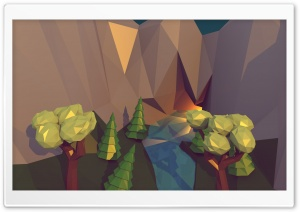 Low Poly Cave HD Wide Wallpaper for Widescreen