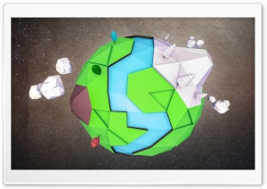 Low poly Earth HD Wide Wallpaper for Widescreen